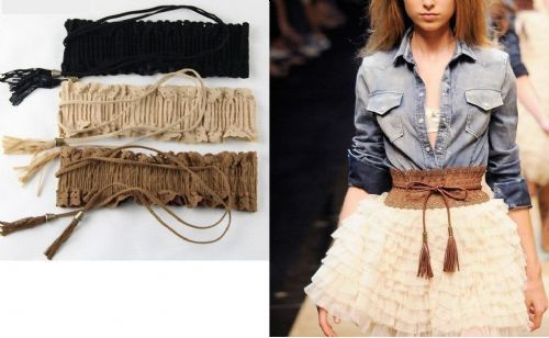 Vintage Women Girl Lace Fringed Tassel Elastic Cinch Wide Waist Belt Waistband